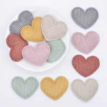 50Pcs/lot 35*30mm Padded Glitter Cloth Heart Appliques for DIY Hat Clothes Leggings Sewing Supplies Headwear Decor Patches L73
