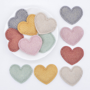 50Pcs/lot 35*30mm Padded Glitter Cloth Heart Appliques for DIY Hat Clothes Leggings Sewing Supplies Headwear Decor Patches L73(China)
