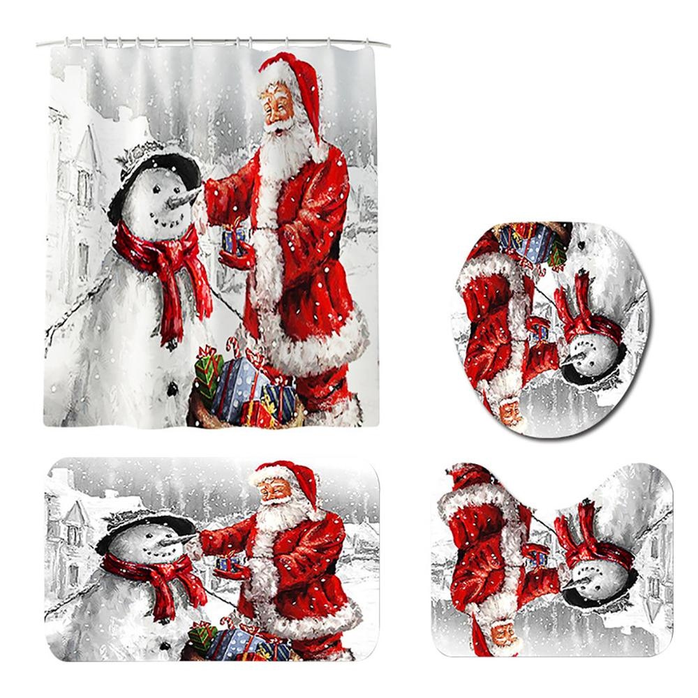 Santa Claus Printed Bathroom Curtain Set Made Of Flannel Material For Toilet And Bathroom 3