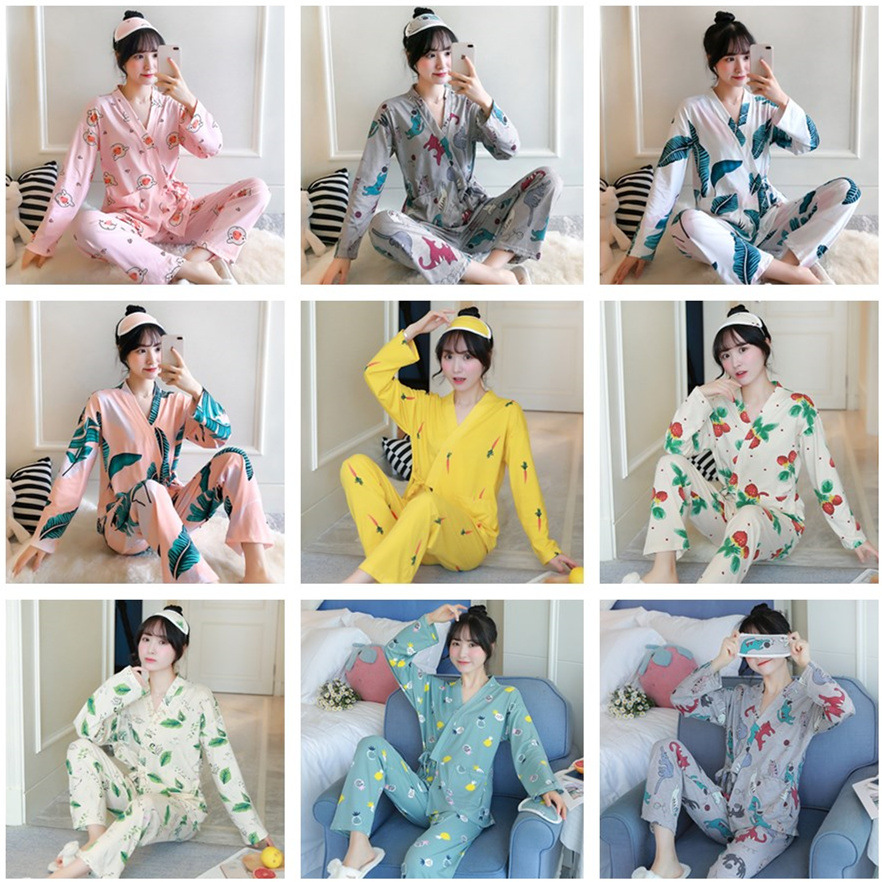 Photo Shoot Send Eye Patch Spring And Autumn Long Sleeve Kimono Pajamas Qmilch Multi--Printed Set Japanese-style Home Wear