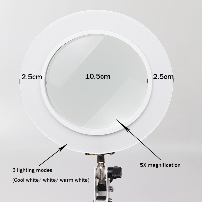 LED 5X Magnifying Table Desk Lamp Stepless Dimming Swing Arm Beauty  Skincare Manicure Nail Tattoo Salon  repair Embroidery