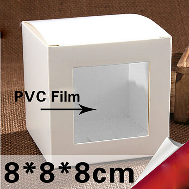 Hot-100pcs-8-8-8cm-White-Pvc-Film-Window-Box-Packing-Custom-Gift-Boxes-Candy-Soap