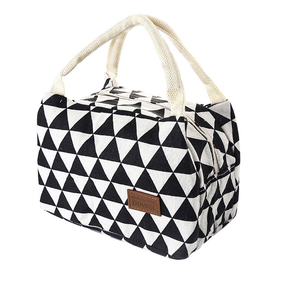 Lunch Bags Portable Grid Pattern Lunch Bag For Women Kids Men Insulated Canvas Box Tote Bag Thermal Cooler Food Bag