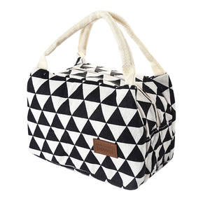 Lunch-Bags Tote-Bag Thermal-Cooler Insulated Portable Women Canvas-Box Kids for Grid-Pattern