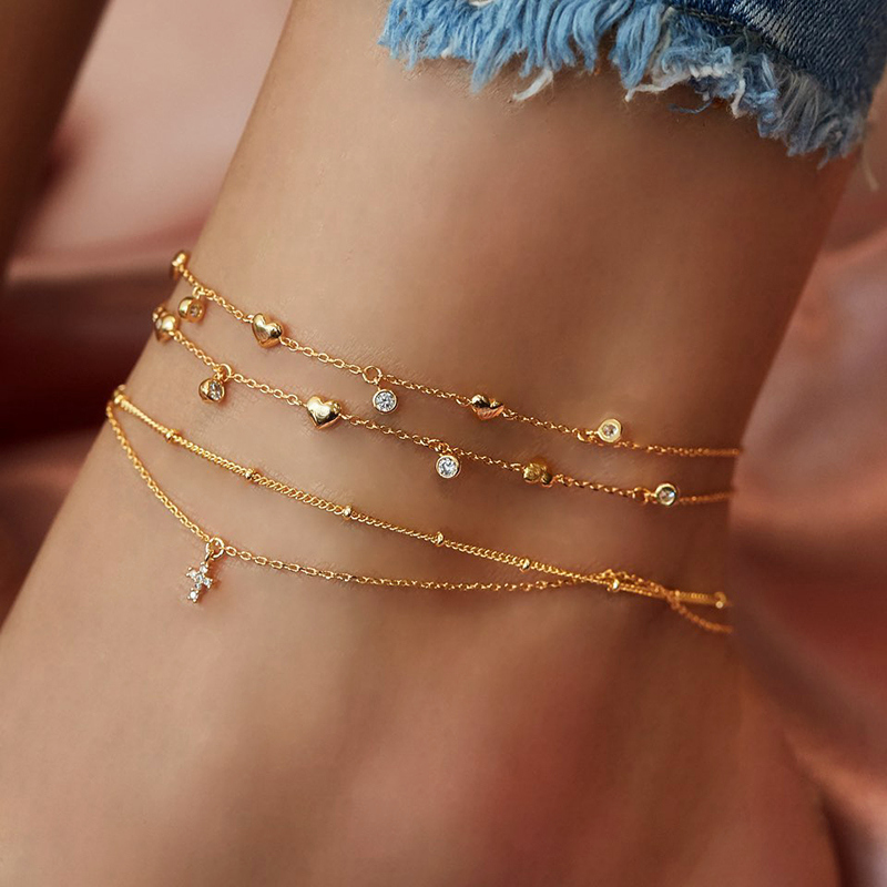 Bohemian Multilayer Rhinestone Heart Anklets For Women Gold Cross Pendant Anklet Ankle Bracelet On Leg Sexy Barefoot Jewelry New