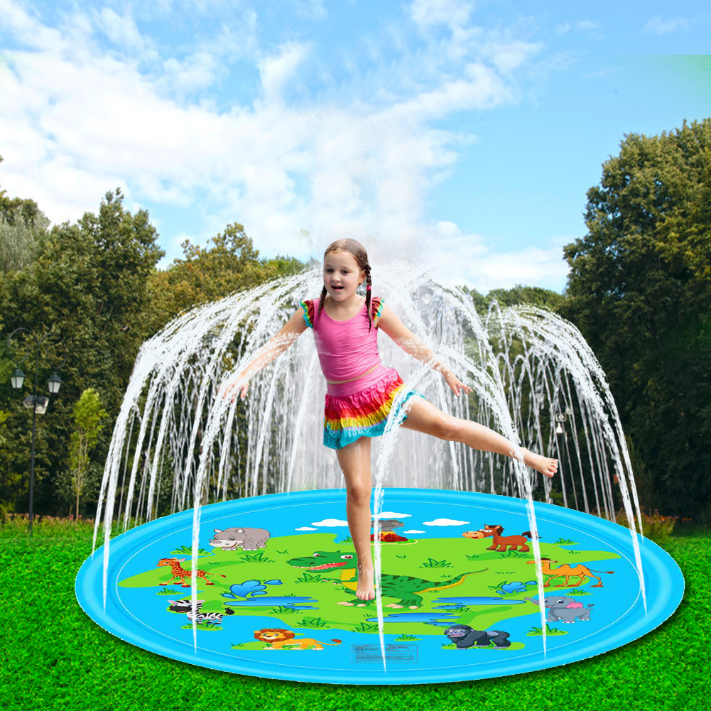 Dinosaur Splash Pad Kids Outdoor Fun Toys 67 Inch Inflatable Sprinkler Play Mat Sports Toys Play Games Mat With Friend Dropship