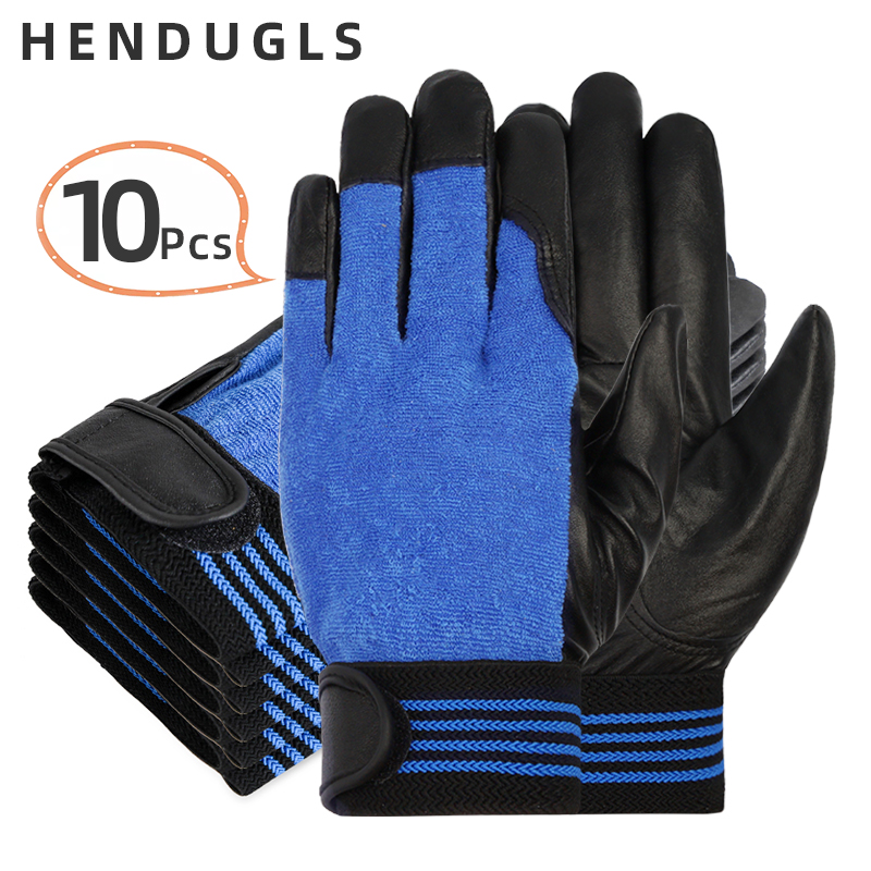HENDUGLS 10pcs New Work Protection Gloves sheepskin Leather Outdoor Working Driving Gardening Security Safety Gloves 508YP