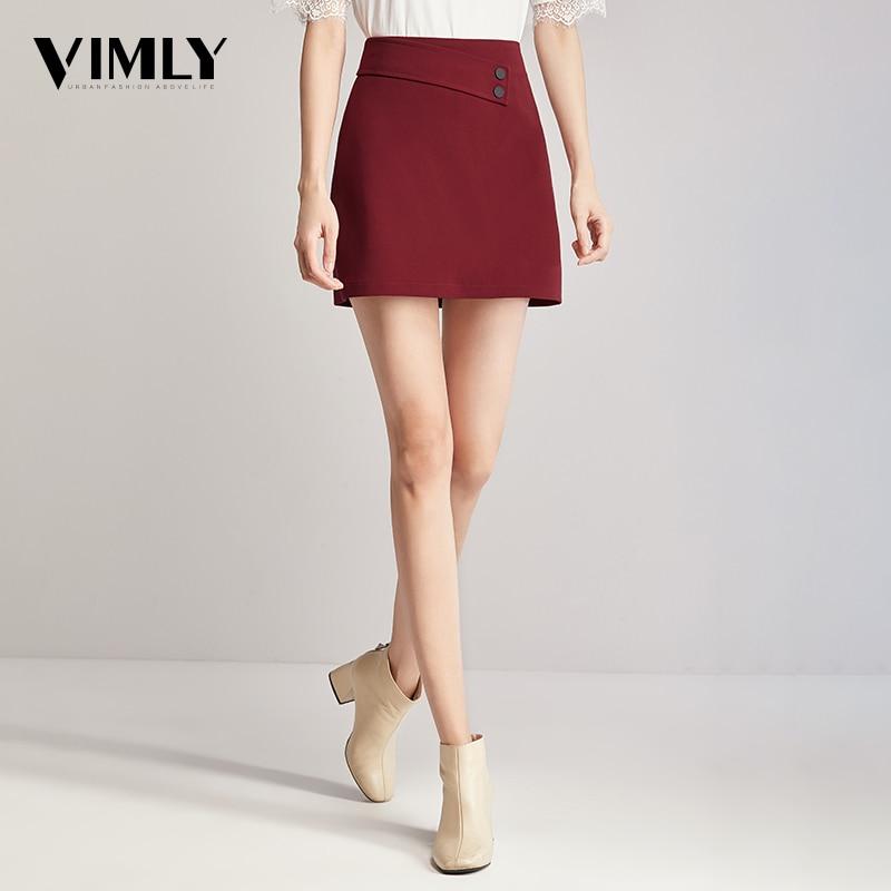 Vimly Office Ladies Mini A Line Skirts Women High Waist Solid Slim Skirt Female High Street Zipper Mini Buttom Skirt