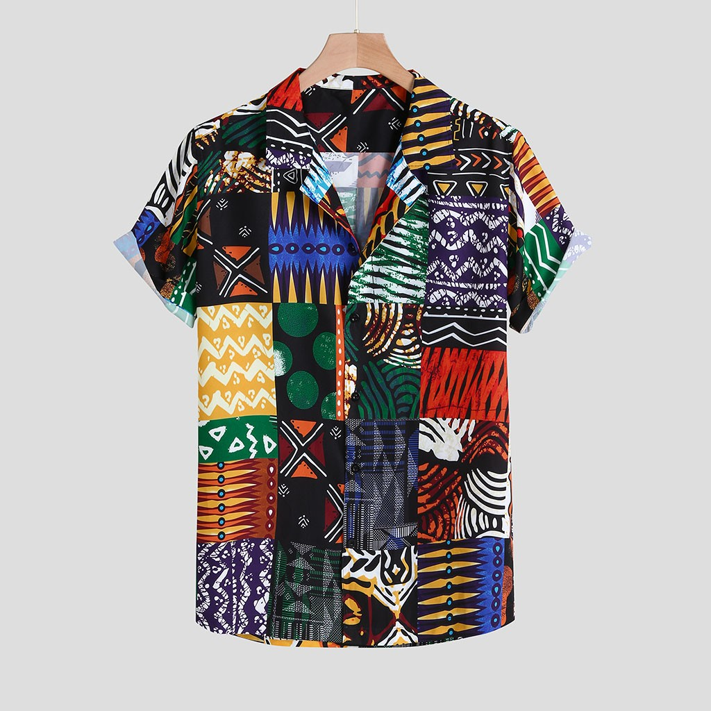 Womail New Arrival Vintage Cotton Men Shirt Short Sleeve Ethnic Style Print Tops 2019 Loose Hawaiian Shirts Men Streetwear 2