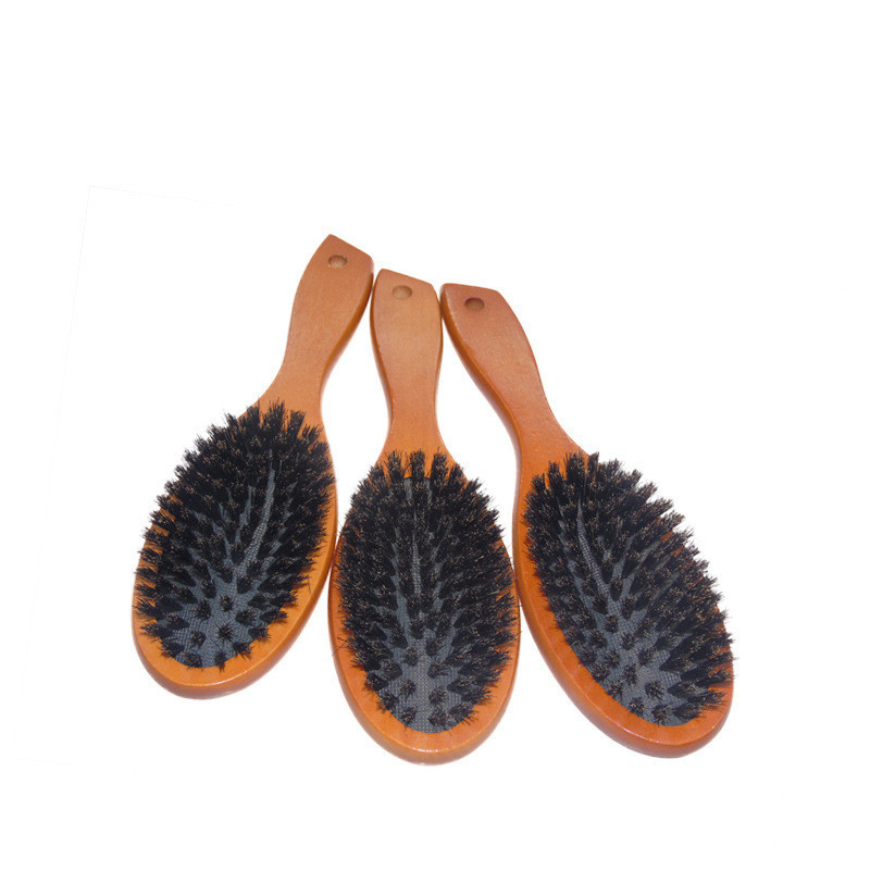 Comb Boar Bristle Hairbrush Massage Comb Hair Scalp Paddle Brush Beech Wooden Handle Hairdressing Wet Curly Styling Tools