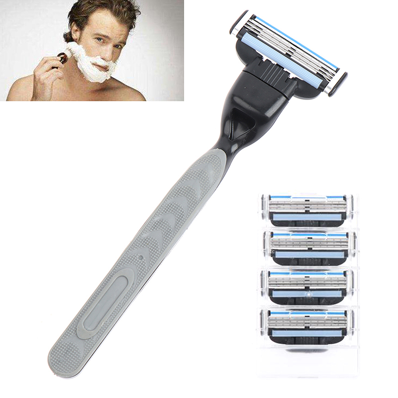 4pcs Razor Blade With 1 Razor Handle Cassette Shaving Blade For Men Face 4-Layer Blades Compatible For Mache 3 Machine 5
