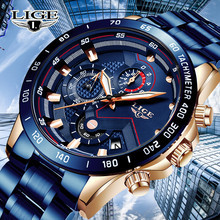 LIGE New Mens Watches Top brand luxury blue Quartz Watch Men Military Sport Stainless steel Chronograph Clock relogio masculino