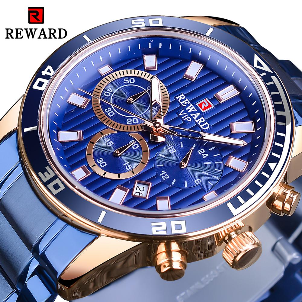 Forsining Blue Stainless Steel Mens Fashion Three Dial Rose Golden Mens Quartz Sport Watches Top Brand Luxury Male Clock Relogio