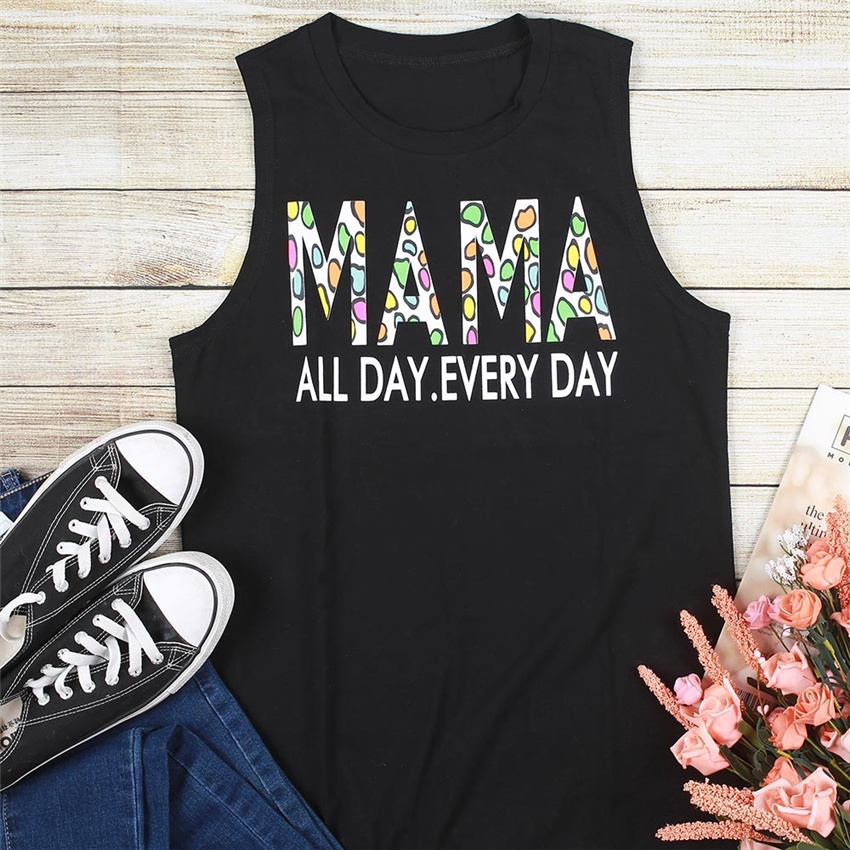 Women Tank Top Color Leopard Letter Tee Women Sleeveless Top 2020 Summer New O-neck Tanks Casual Female Tee For Women Clothes