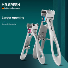 MR.GREEN Nail Clippers Set Stainless Steel Wide Jaw Opening Manicure Fingernail Cutter Thick Hard Ingrown Toenail Scissors 2Pcs
