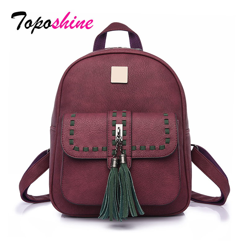 Toposhine 2018 Tassel Women Backpacks Fashion PU Leather Lady Backpacks High Quality Fashion Girls Backpack Cute School Bag 1588