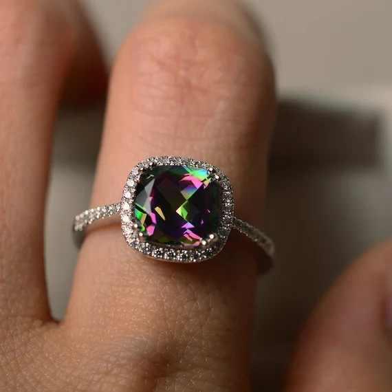 Visisap arco-íris pedra asscher zircon anéis para presentes de casamento feminino dropshipping moda acessórios dropshipping fábrica b2393