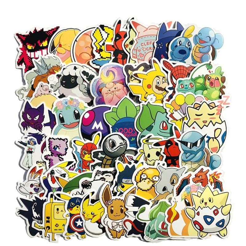 50 PCS Pikachu Cartoon Stickers Waterproof Vinyl Decal For Laptop Helmet Bicycle Luggage Guitar Car Stickers LD