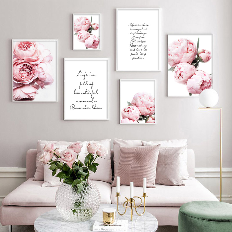 Pink Peony Canvas Poster Nordic Print Positive Life Text Quote Painting Flower Decoration Picture Modern Living Room Decor