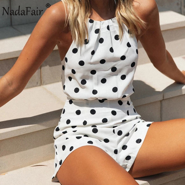 Nadafair Woman Short Jumpsuit Sexy Off Shoulder Backless Halter Chiffon Polka Dot White Summer Playsuit Women 3