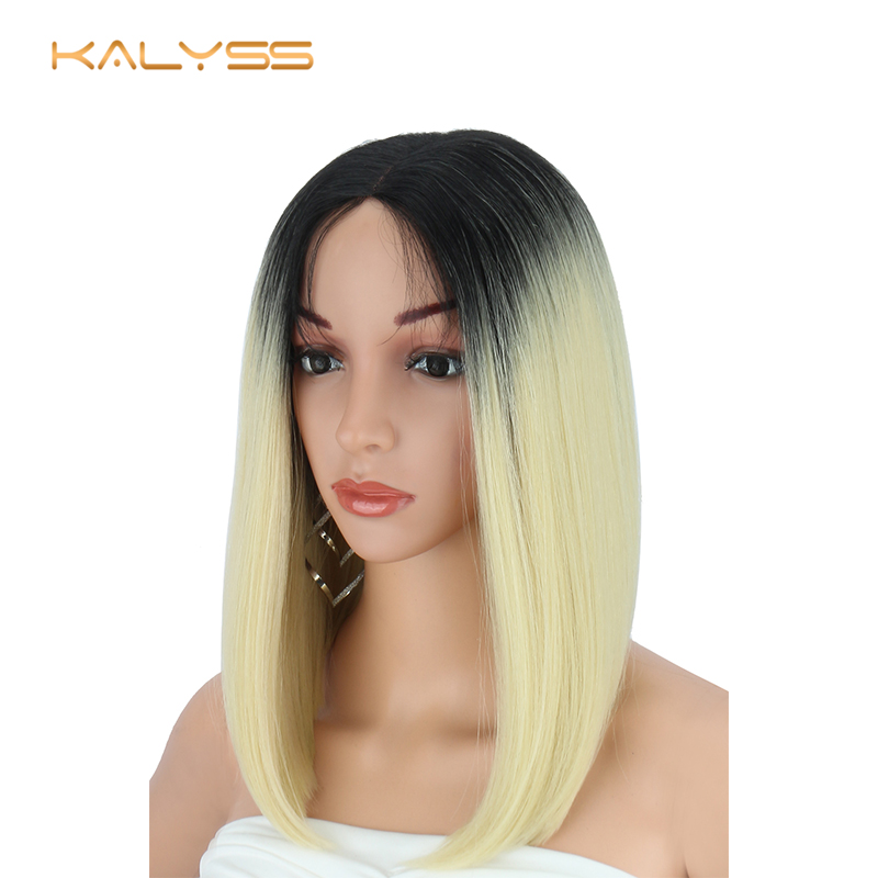 Kalyss  Wigs for Women Yaki Straight Synthetic Lace Front Wig for Black Women Middle Part Ombre 613 Blonde Bob Lace Front Wigs