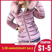 Frauen Baumwolle Gepolsterte Jacken Grau Rosa Kapuze Pelz Kragen Dicken Mode Grundlegende Schnee Oberbekleidung Winter Samt Jacke Mantel Plus Größe