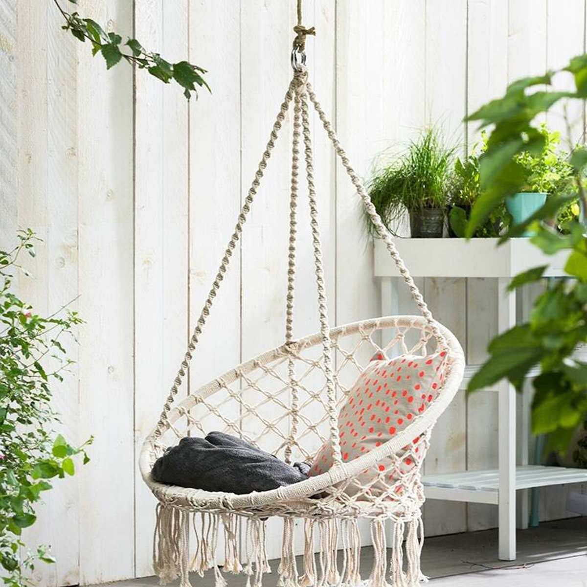 Nordic Cotton Rope Hammock Chair Handmade Knitted Indoor Outdoor Kids Swing Bed Adult Swinging Hanging Chair Hammock