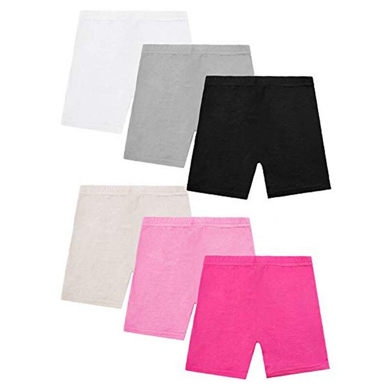 6 шт., детские штаны, леггинсы для девочек, шорты, дышащие, однотонные, безопасные короткие штаны, детские леггинсы, облегающая эластичная оде...