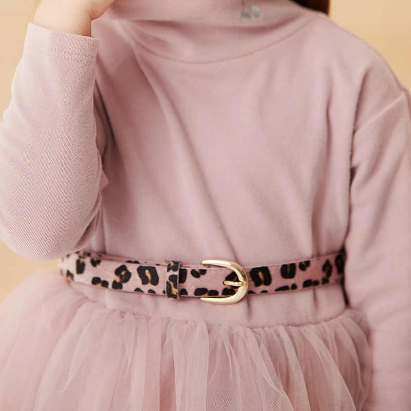 Minibalabala niñas vestido de malla cereza impreso 2019 otoño nuevo vestido de manga larga de cuello alto mullido