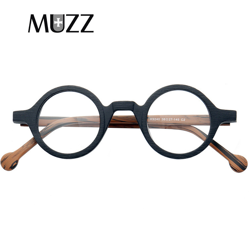 Acetate Prescription Glasses Frames Vintage Round Wooden Myopia Eyeglasses Men's Optical Super Small Reading Eyeglasses Frame