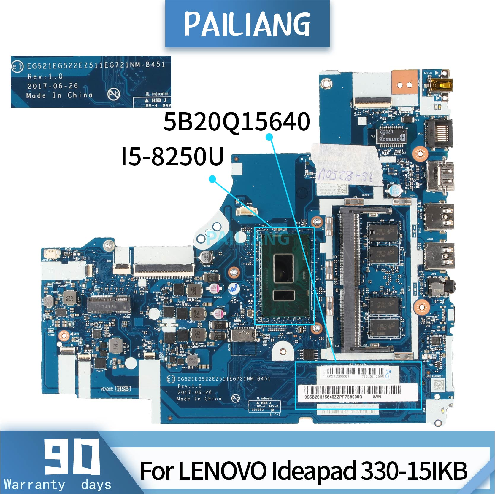 PAILIANG Laptop <font><b>motherboard</b></font> For <font><b>LENOVO</b></font> <font><b>Ideapad</b></font> <font><b>330</b></font>-15IKB Mainboard 5B20Q15640 NM-B451 SR3LA I5-8250U TESTED DDR3 image