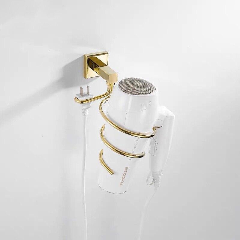 настенный навесной латунь фен держатель позолота покрытие ванная ящик для хранения стеллаж органайзер перфорация