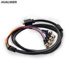 Jsj vga revolução 5 bnc cabeça vga para rgbhv linha de monitoramento linha projetor vídeo sinal linha frete grátis