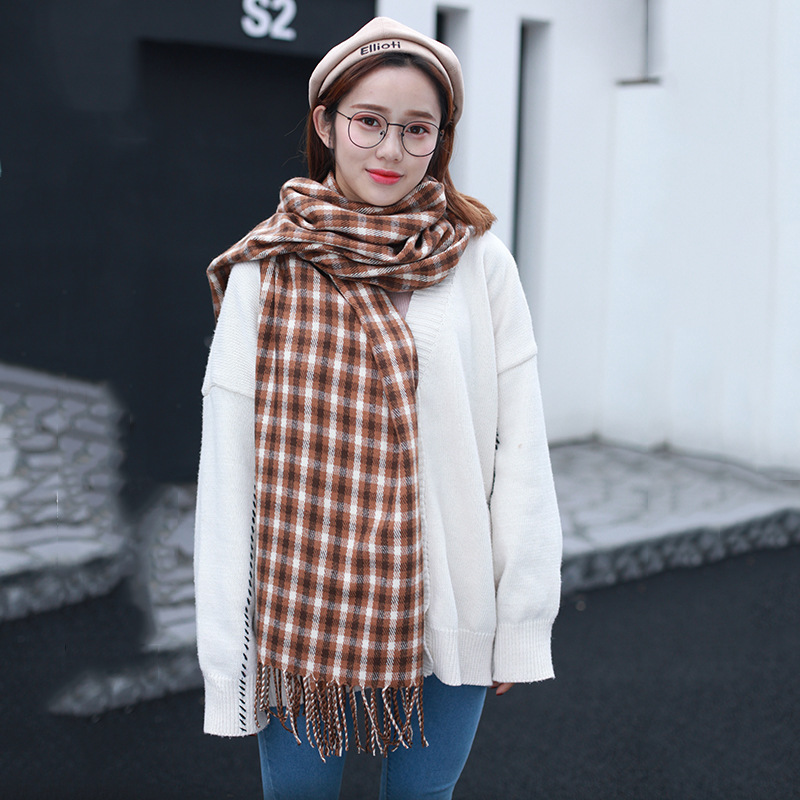 New Style College Style Scarf Japanese Korean Plaid Warm Lengthen Tassels Scarf Unisex Couples