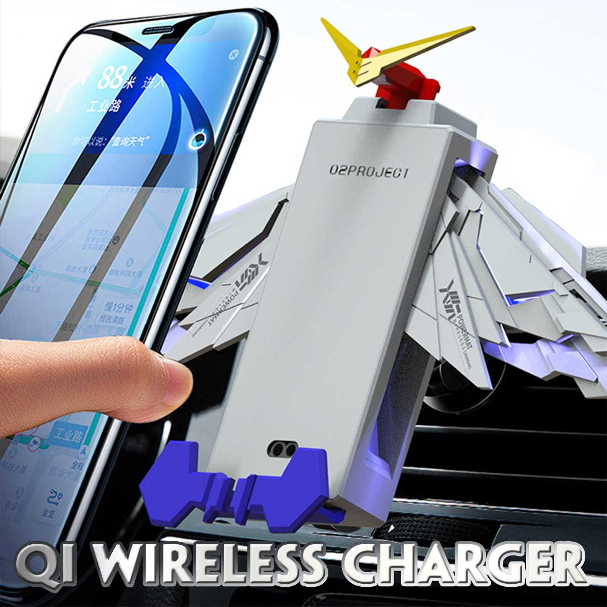 Bakeey Wing Folding Wireless Mobile Phone Charger Mechanical Wing Angel Wing Wireless Car Charging Pad suitable for IOS Android