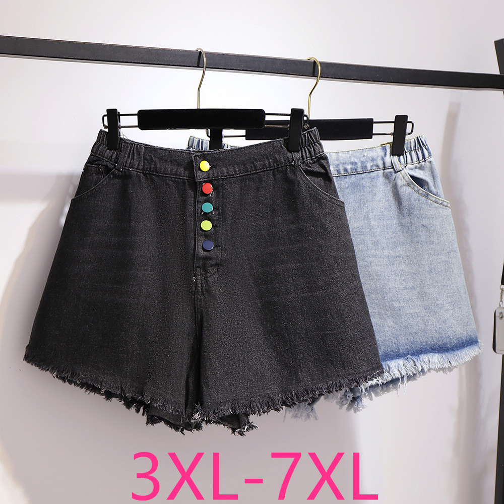New Summer Plus Size Denim Shorts For Women Large Loose Casual Elastic Waist Button Wide Leg Shorts Blue Black 4XL 5XL 6XL 7XL