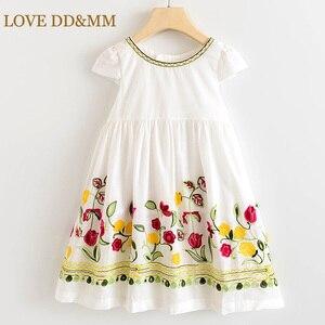 LOVE DD&MM Girls Dresses 2020 Summer New Children's Clothing Girls Sweet Flower Embroidery Bow Dress(China)