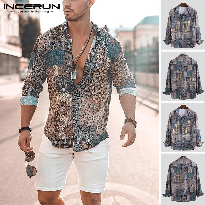 INCERUN Print Men Shirt Long Sleeve Vintage Ethnic Breathable High Street Lapel Neck Camisa Chic Hawaiian Men Brand Shirts 2020
