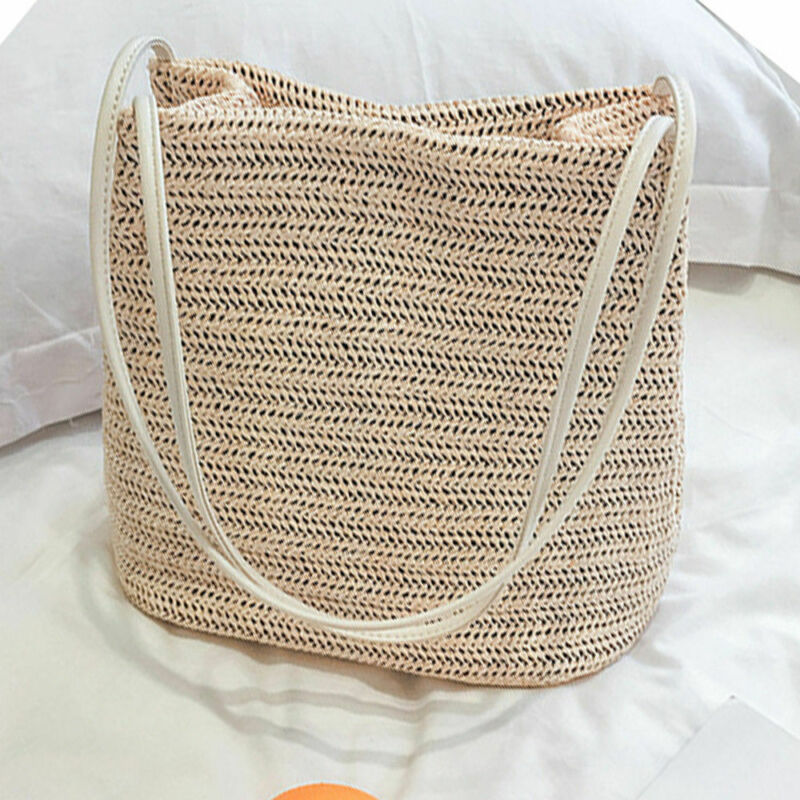 2020 Новая Винтажная Женская богемная Плетеная соломенная сумка из ротанга, сумка-ведро, сумка через плечо, модные летние пляжные сумки