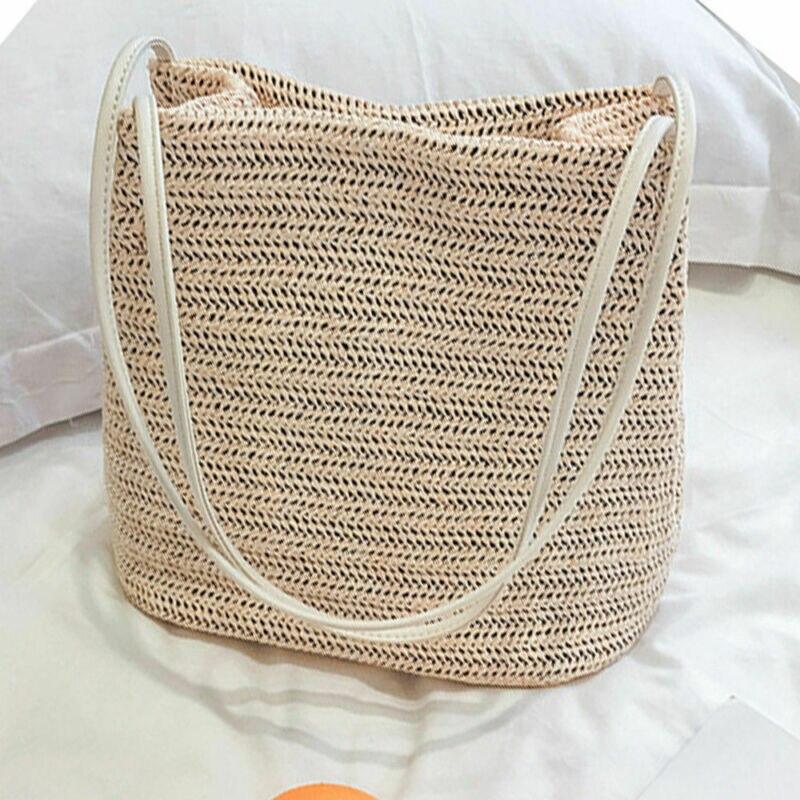 2020 New Vintage Women Girls Bohemian Rattan Straw Bag Woven Bucket Handbag Crossbody Fashion Beach Summer Bags