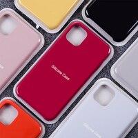 Funda de teléfono oficial de silicona líquida, carcasa trasera lisa de Color caramelo para iPhone 13, 11, 12 Pro Max, Mini, X, Xs Max, Xr, 7, 8 Plus, Se2