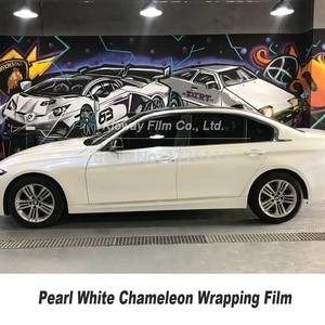 Image 4 - Höchste qualität Glanz Perle Weiß zu Blau VINYL Auto Wrap FILM chameleon wrapping foile Blase Freies qualität Garantie 5m/10m/18m