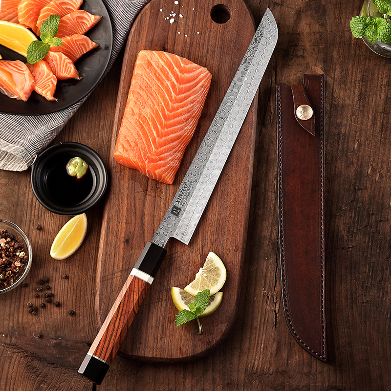 Image 5 - XINZUO 10.5 Sakimaru Knife 110 Layers Damascus Steel Sushi Sashimi Salmon Fish Filleting Kitchen Chef Knife Octagonal HandleKitchen Knives   -