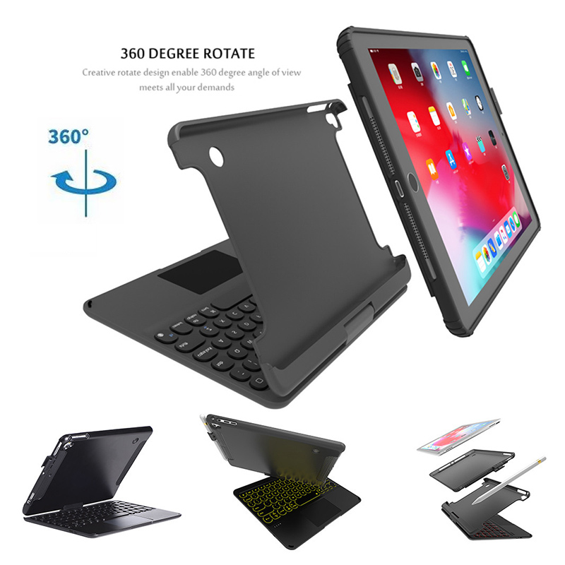 Wireless 360 Degree Rotatable Keyboard Touchpad Case For iPad Air 2/pro 9.7/2017/2018 9.7 With Pen Slot Detachable Keyboard