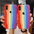 Радужный с логотипом силиконовый чехол для телефона iPhone 11 12 Pro XS Max XR X 10 11 pro max 6 7 6s 8 plus 12 mini высококачественный чехол