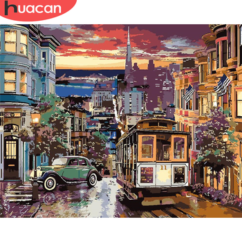 HUACAN DIY Painting By Number City Hand Painted Painting Street Pictures By Numbers Landscape Kits Drawing On Canvas Home Decor