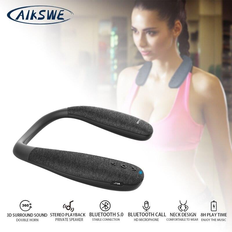 AIKSWE шеи Bluetooth Динамик объемное звучание Беспроводной Динамик Bluetooth 5,0 с бас HD Voice Кнопка С микрофоном для игры
