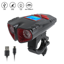 BORUiT Waterproof LED Bicycle Light Rechargeable Cycle Front Headlight 120LM Cycling FlashLight with Horn Speed Meter LCD Screen