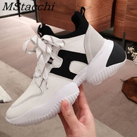 MStacchi Women Fashion Color Mixing Sneakers Women Real Leather Vulcanized Shoes Woman Comfortable Casual Laces Up Platform Shoe