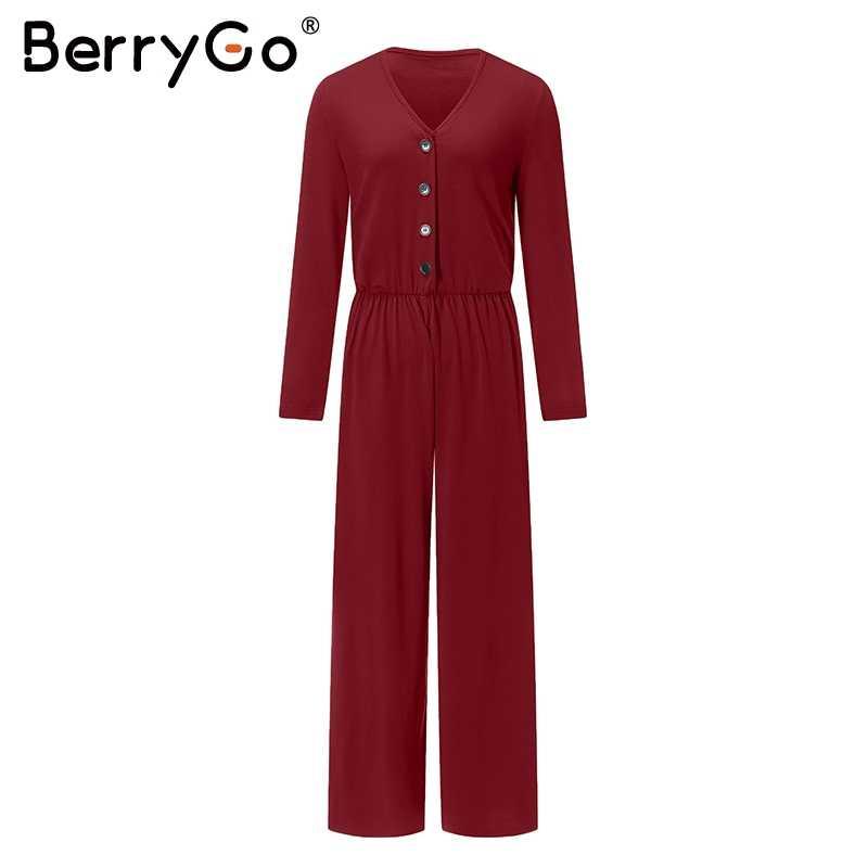 BerryGo сексуальный женский комбинезон с v-образным вырезом и пуговицами, эластичный женский комбинезон с длинным рукавом, повседневный женский удобный комбинезон в уличном стиле